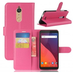 Protection Etui Portefeuille Cuir Rose Wiko View
