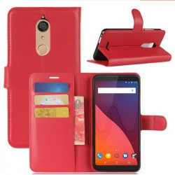 Protection Etui Portefeuille Cuir Rouge Wiko View