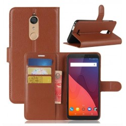 Protection Etui Portefeuille Cuir Marron Wiko View