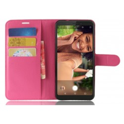 Protection Etui Portefeuille Cuir Rose Wiko View XL