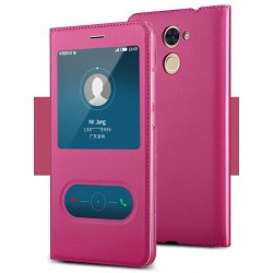 Pink S-view Flip Case For Huawei Honor 7X