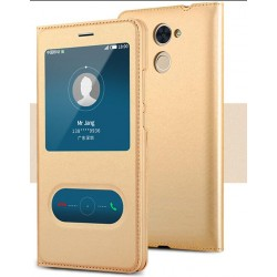 Gold S-view Flip Case For Huawei Honor 7X