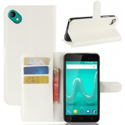 Protection Etui Portefeuille Cuir Blanc Wiko Sunny 2 Plus