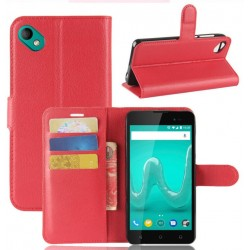 Protection Etui Portefeuille Cuir Rouge Wiko Sunny 2 Plus