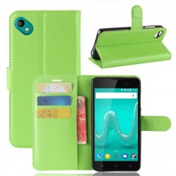 Protection Etui Portefeuille Cuir Vert Wiko Sunny 2 Plus