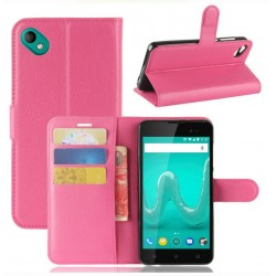 Protection Etui Portefeuille Cuir Rose Wiko Sunny 2 Plus