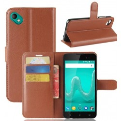Protection Etui Portefeuille Cuir Marron Wiko Sunny 2 Plus