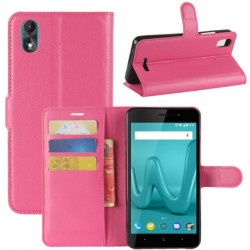 Protection Etui Portefeuille Cuir Rose Wiko Lenny 4 Plus
