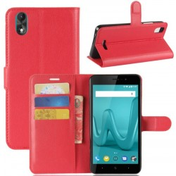Protection Etui Portefeuille Cuir Rouge Wiko Lenny 4 Plus