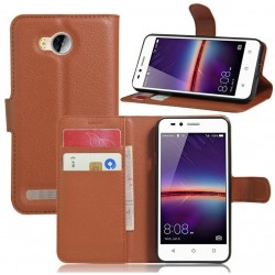 Protection Etui Portefeuille Cuir Marron Huawei Y3II