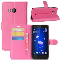 Protection Etui Portefeuille Cuir Rose HTC U11