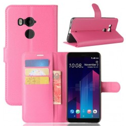 Protection Etui Portefeuille Cuir Rose HTC U11 Plus