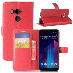 Protection Etui Portefeuille Cuir Rouge HTC U11 Plus