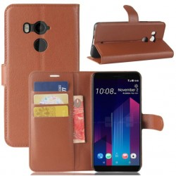 Protection Etui Portefeuille Cuir Marron HTC U11 Plus