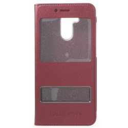 Etui Protection S-View Cover Rouge Pour Huawei Honor V9 Play