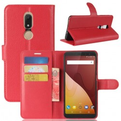 Protection Etui Portefeuille Cuir Rouge Wiko View Prime