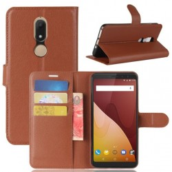 Protection Etui Portefeuille Cuir Marron Wiko View Prime