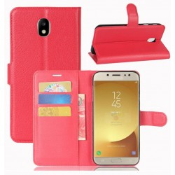 Protection Etui Portefeuille Cuir Rouge Samsung Galaxy J7 Pro