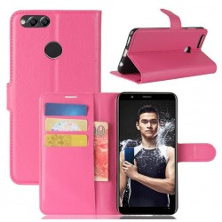 Protection Etui Portefeuille Cuir Rose Huawei P Smart