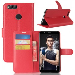 Protection Etui Portefeuille Cuir Rouge Huawei P Smart