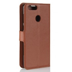 Protection Etui Portefeuille Cuir Marron Huawei P Smart