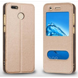 Gold S-view Flip Case For Huawei P Smart