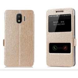 Gold S-view Flip Case For Samsung Galaxy J2 Pro 2018