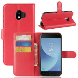 Protection Etui Portefeuille Cuir Rouge Samsung Galaxy J2 Pro 2018