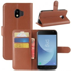 Protection Etui Portefeuille Cuir Marron Samsung Galaxy J2 Pro 2018