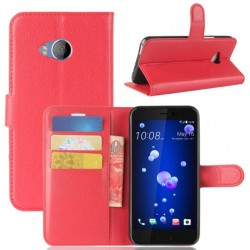 Protection Etui Portefeuille Cuir Rouge HTC U Play