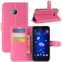 Protection Etui Portefeuille Cuir Rose HTC U Play