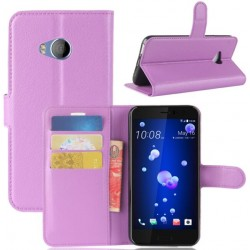 Protection Etui Portefeuille Cuir Violet HTC U Play