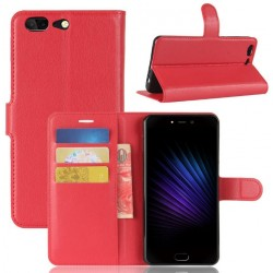 Protection Etui Portefeuille Cuir Rouge Leagoo T5