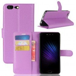 Protection Etui Portefeuille Cuir Violet Leagoo T5