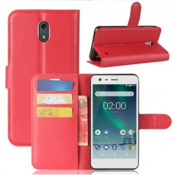 Protection Etui Portefeuille Cuir Rouge Nokia 2