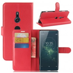 Protection Etui Portefeuille Cuir Rouge Sony Xperia XA2
