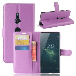Protection Etui Portefeuille Cuir Violet Sony Xperia XA2