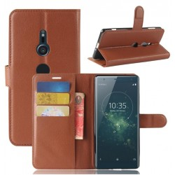 Protection Etui Portefeuille Cuir Marron Sony Xperia XA2