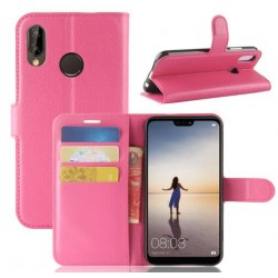 Protection Etui Portefeuille Cuir Rose Huawei P20