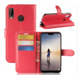 Protection Etui Portefeuille Cuir Rouge Huawei P20