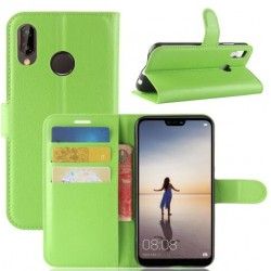 Protection Etui Portefeuille Cuir Vert Huawei P20
