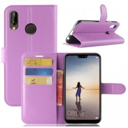 Protection Etui Portefeuille Cuir Violet Huawei P20